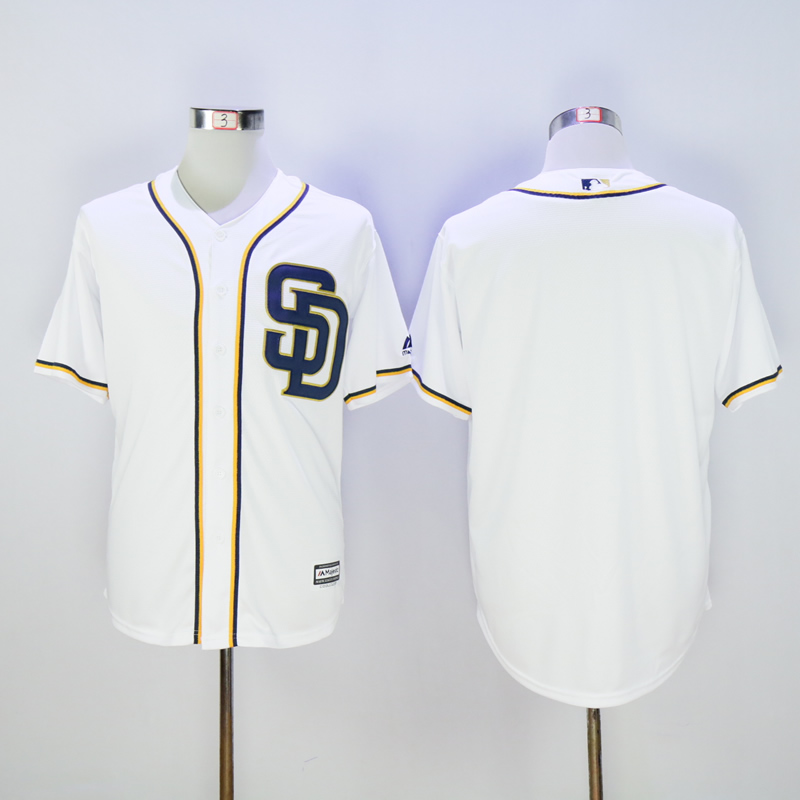 Men San Diego Padres Blank White MLB Jerseys1