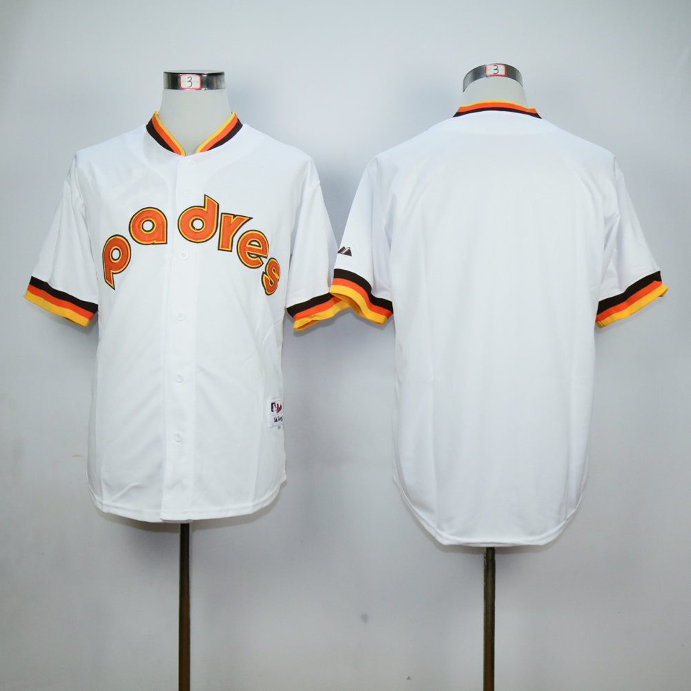 Men San Diego Padres Blank White Throwback 1984 MLB Jerseys