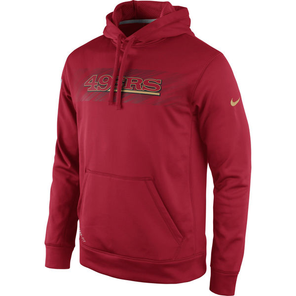 Men San Francisco 49ers Nike KO Speed Wordmark Performance Hoodie Red