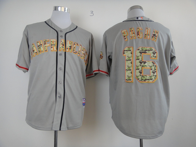 Men San Francisco Giants 16 Pagan Grey Camo MLB Jerseys