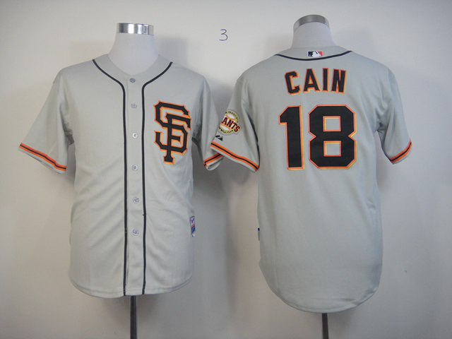 Men San Francisco Giants 18 Cain Grey MLB Jerseys