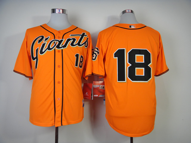 Men San Francisco Giants 18 Cain Orange MLB Jerseys