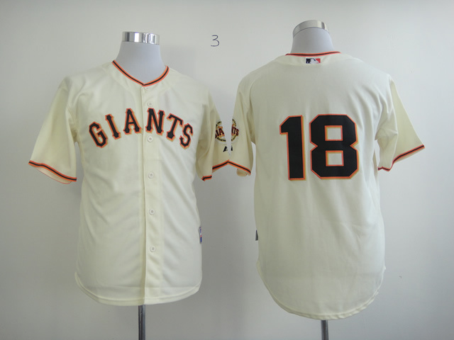 Men San Francisco Giants 18 No name Cream MLB Jerseys