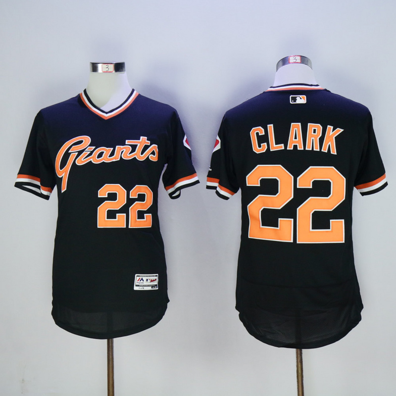 Men San Francisco Giants 22 Clark Black Throwback Elite MLB Jerseys