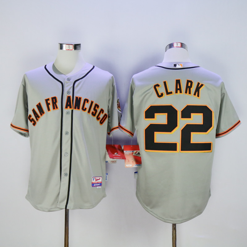 Men San Francisco Giants 22 Clark Grey Throwback MLB Jerseys