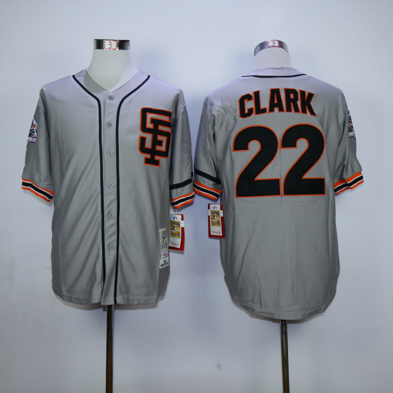 Men San Francisco Giants 22 Clark Grey Throwback SF MLB Jerseys