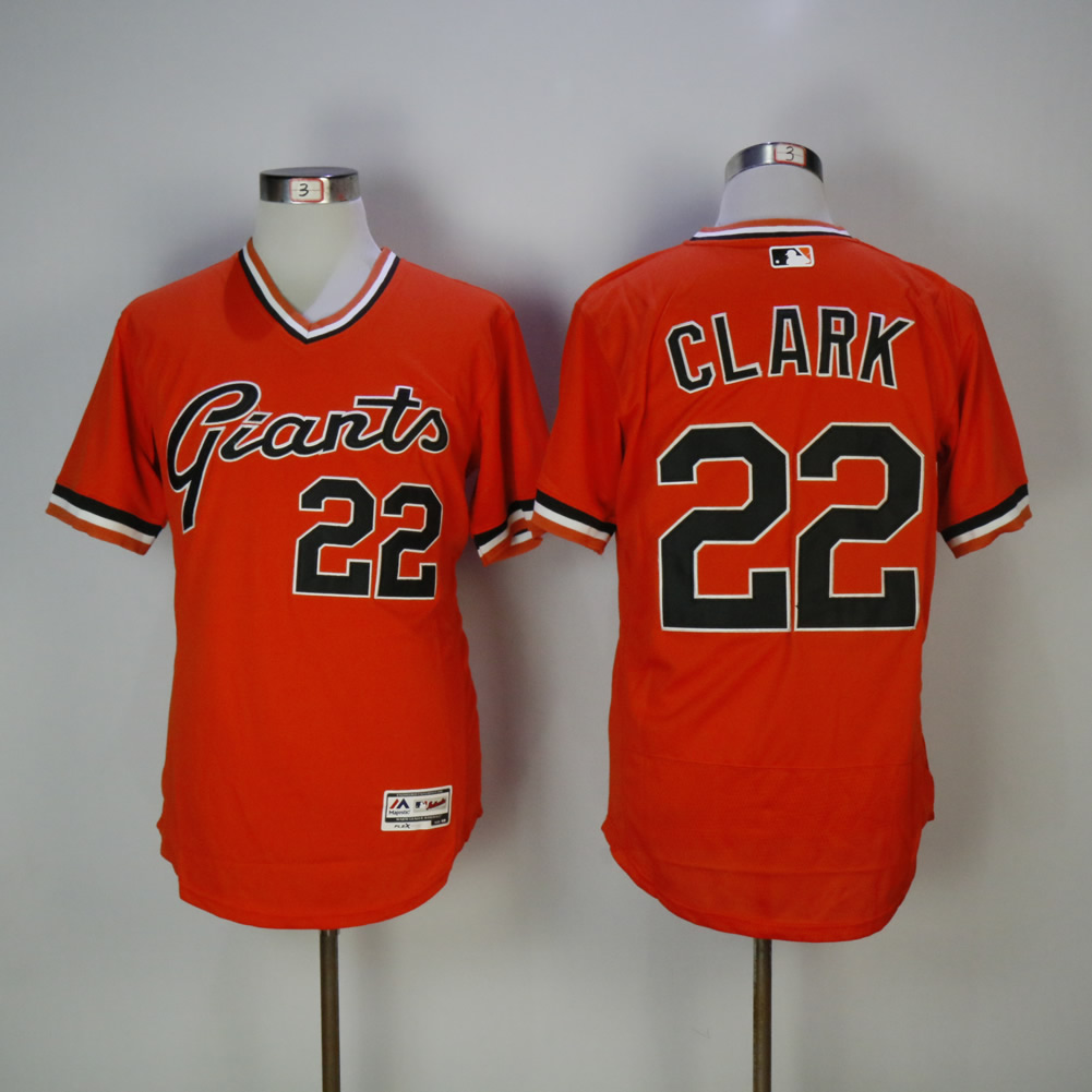 Men San Francisco Giants 22 Clark Orange Elite MLB Jerseys