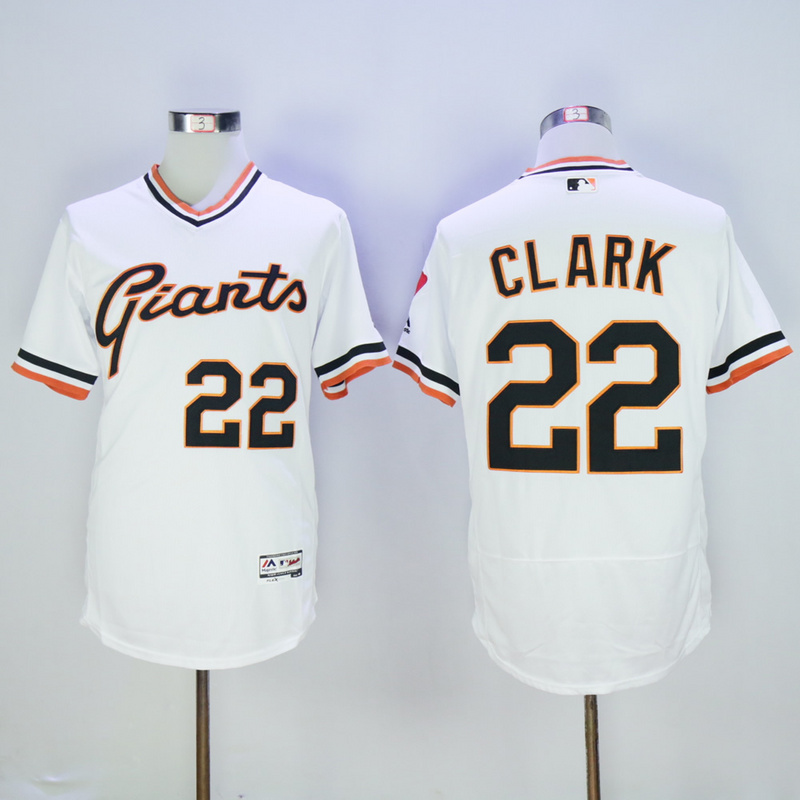 Men San Francisco Giants 22 Clark White Throwback Elite MLB Jerseys