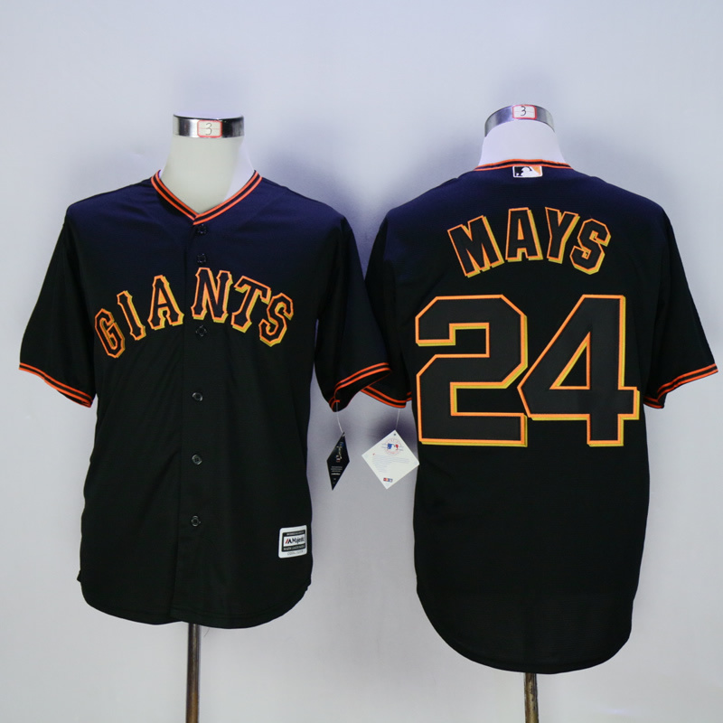 Men San Francisco Giants 24 Mays Black MLB Jerseys