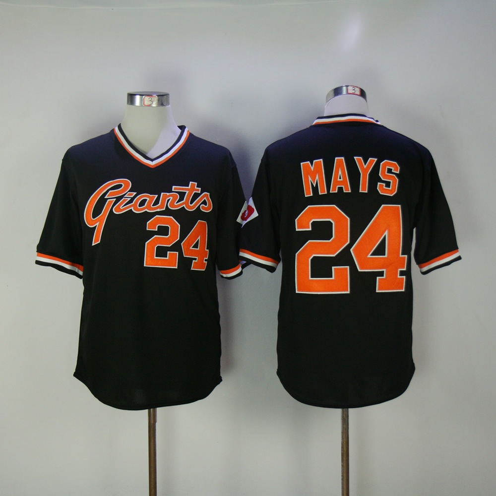 Men San Francisco Giants 24 Mays Black Throwback MLB Jerseys