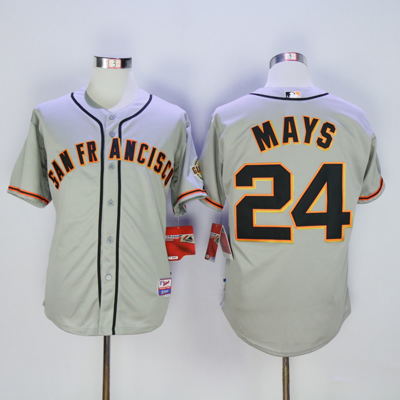 Men San Francisco Giants 24 Mays Grey MLB Jerseys
