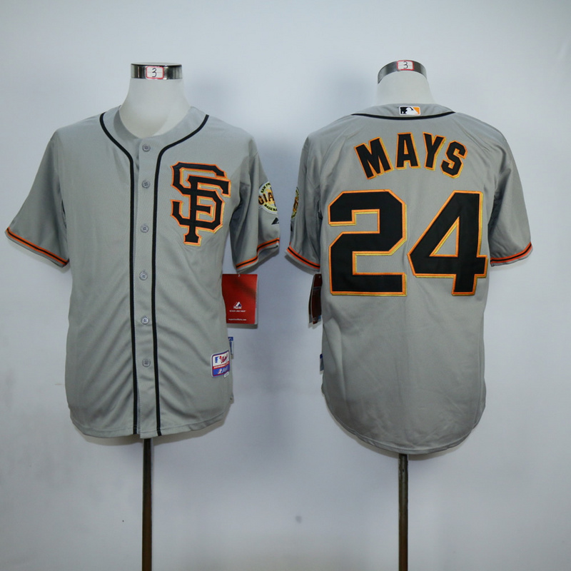 Men San Francisco Giants 24 Mays Grey SF MLB Jerseys