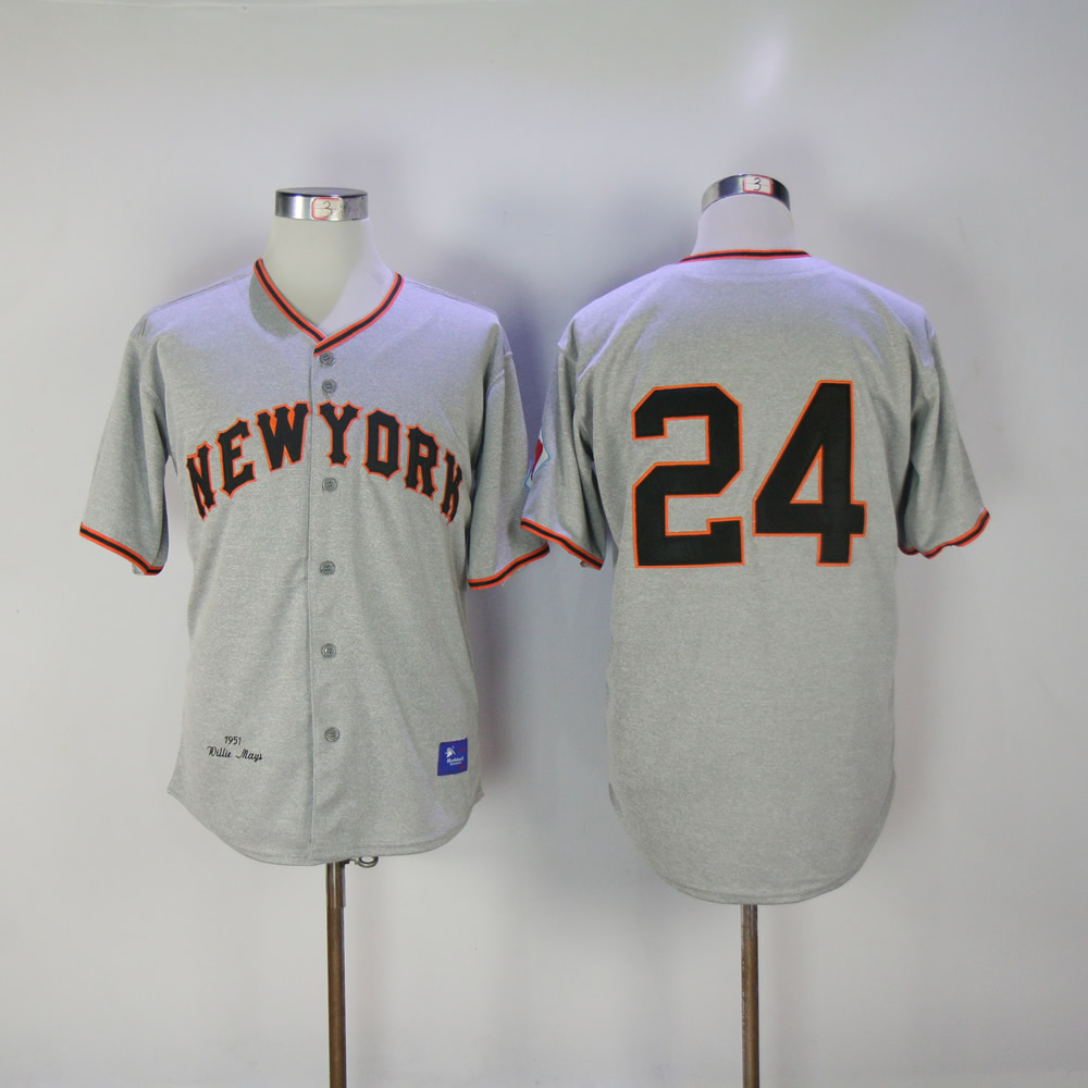 Men San Francisco Giants 24 Mays Grey Throwback MLB Jerseys
