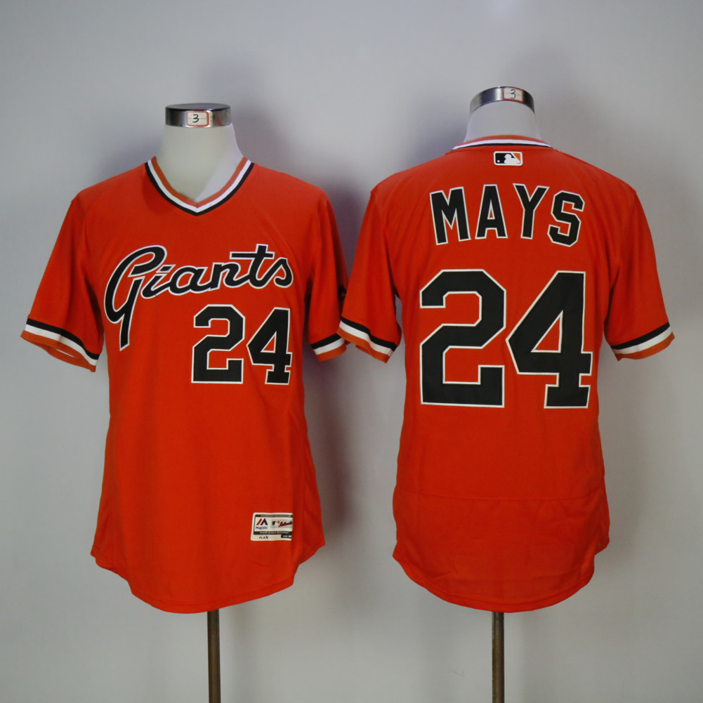 Men San Francisco Giants 24 Mays Orange Elite MLB Jerseys