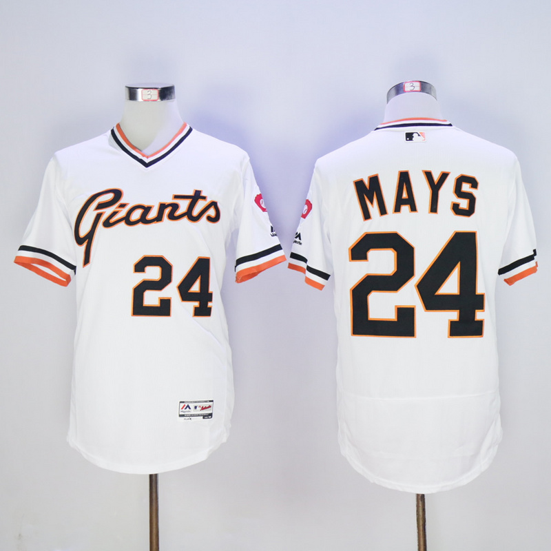 Men San Francisco Giants 24 Mays White Throwback Elite MLB Jerseys