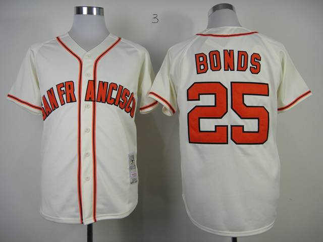 Men San Francisco Giants 25 Bonds Cream Throwback MLB Jerseys