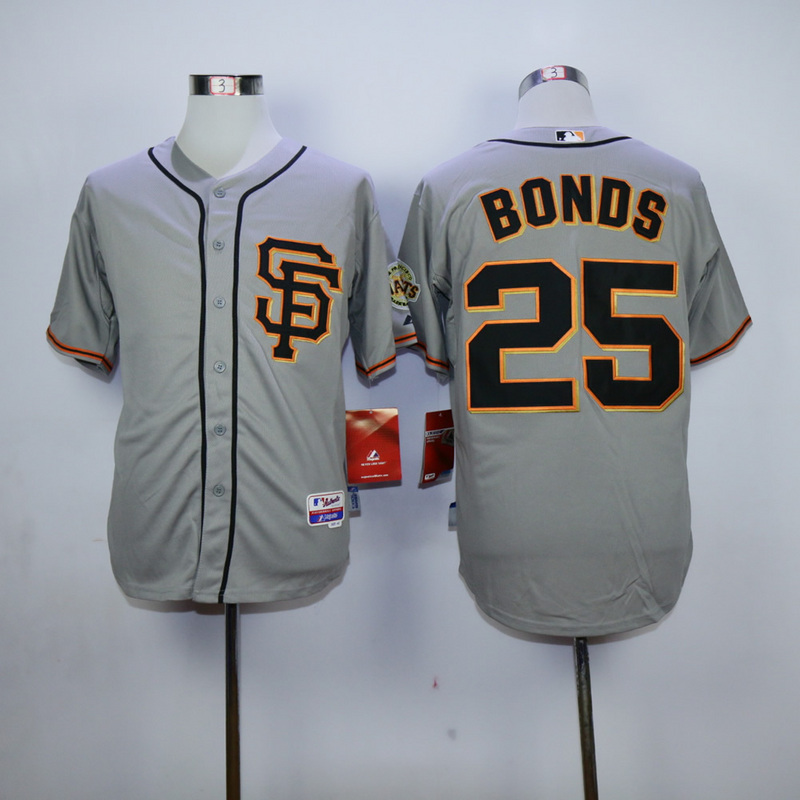 Men San Francisco Giants 25 Bonds Grey Throwback MLB Jerseys