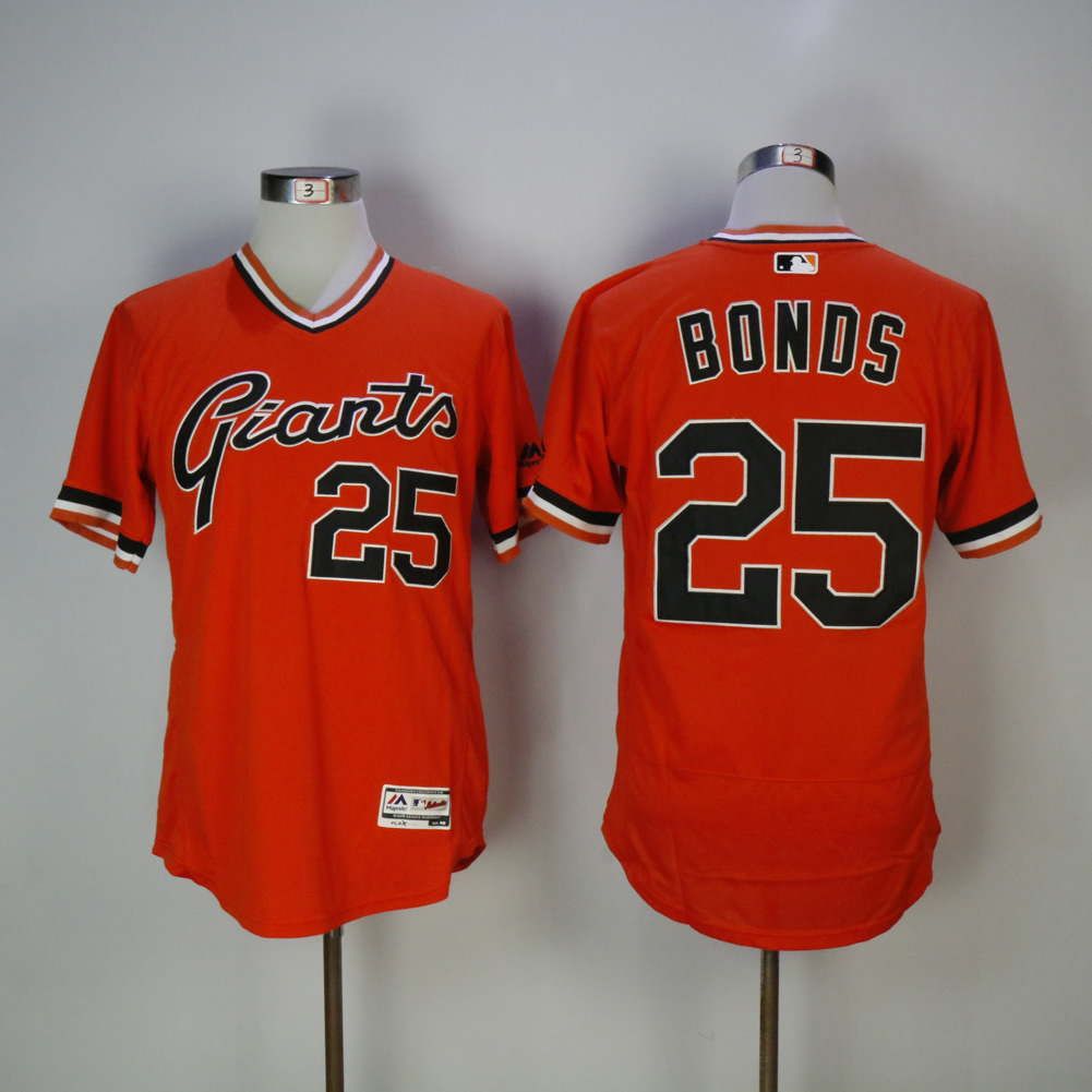 Men San Francisco Giants 25 Bonds Orange Throwback Elite MLB Jerseys