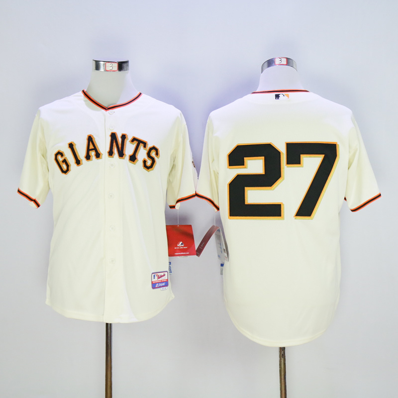 Men San Francisco Giants 27 Marichal Cream MLB Jerseys