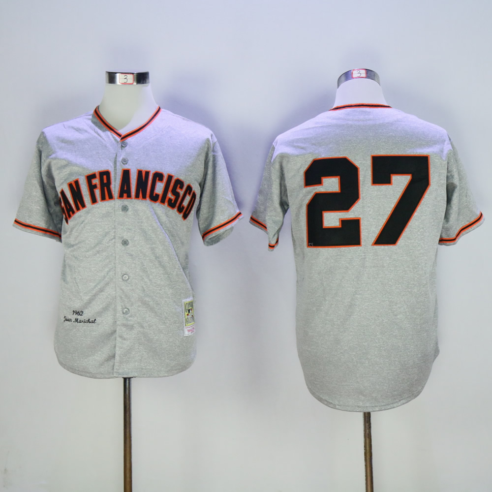 Men San Francisco Giants 27 Marichal Grey Throwback MLB Jerseys