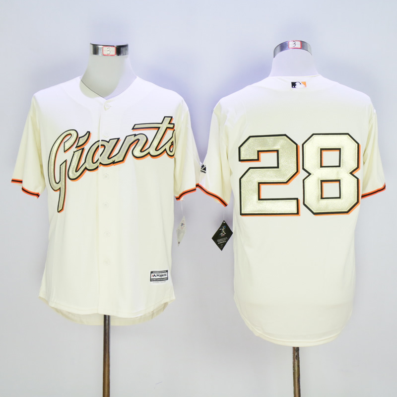 Men San Francisco Giants 28 No name Cream MLB Jerseys