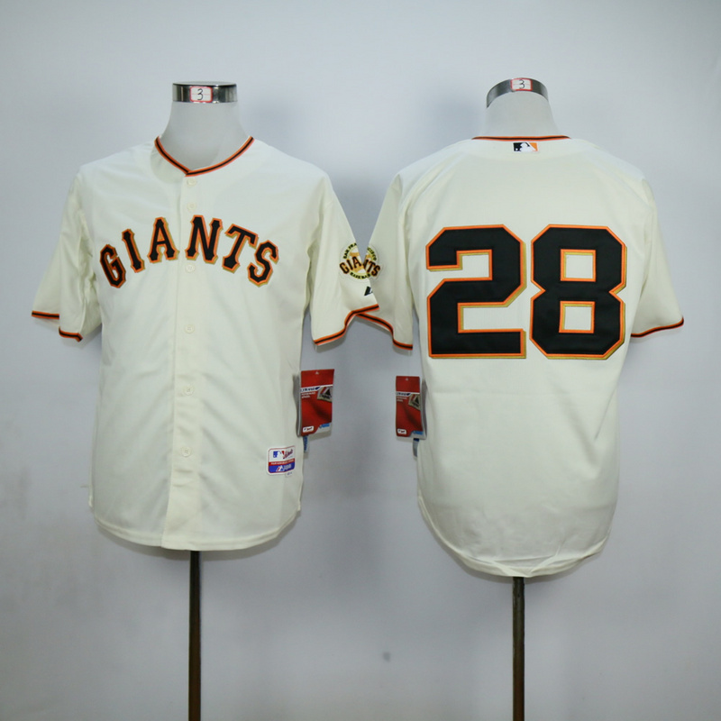 Men San Francisco Giants 28 No name Cream MLB Jerseys1