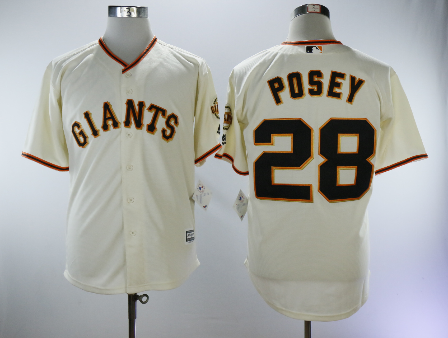 Men San Francisco Giants 28 Posey Cream Game MLB Jerseys