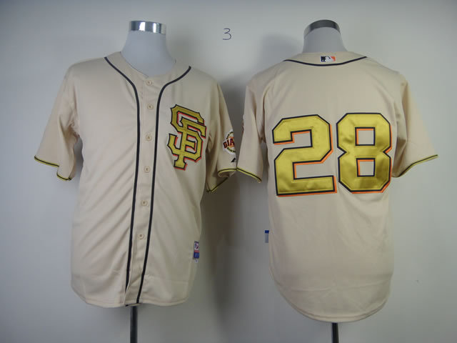 Men San Francisco Giants 28 Posey Cream SF MLB Jerseys