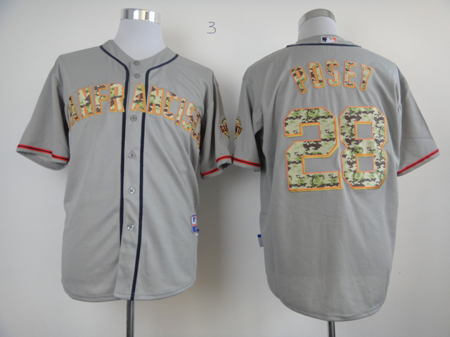 Men San Francisco Giants 28 Posey Grey Camo MLB Jerseys
