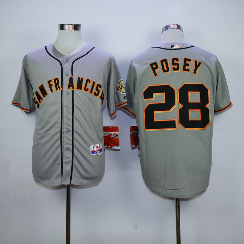 Men San Francisco Giants 28 Posey Grey MLB Jerseys
