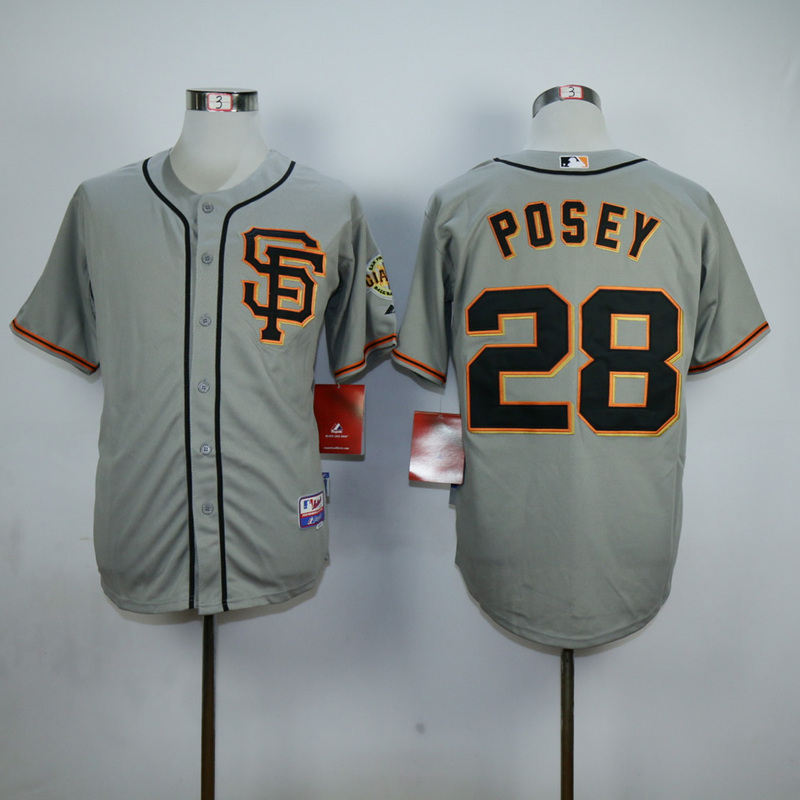 Men San Francisco Giants 28 Posey Grey SF MLB Jerseys