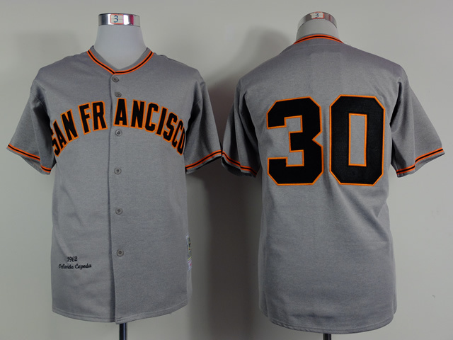Men San Francisco Giants 30 Cepeda Grey MLB Jerseys