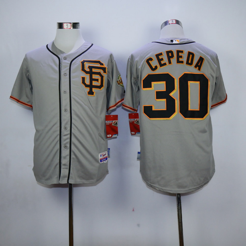 Men San Francisco Giants 30 Cepeda Grey SF MLB Jerseys