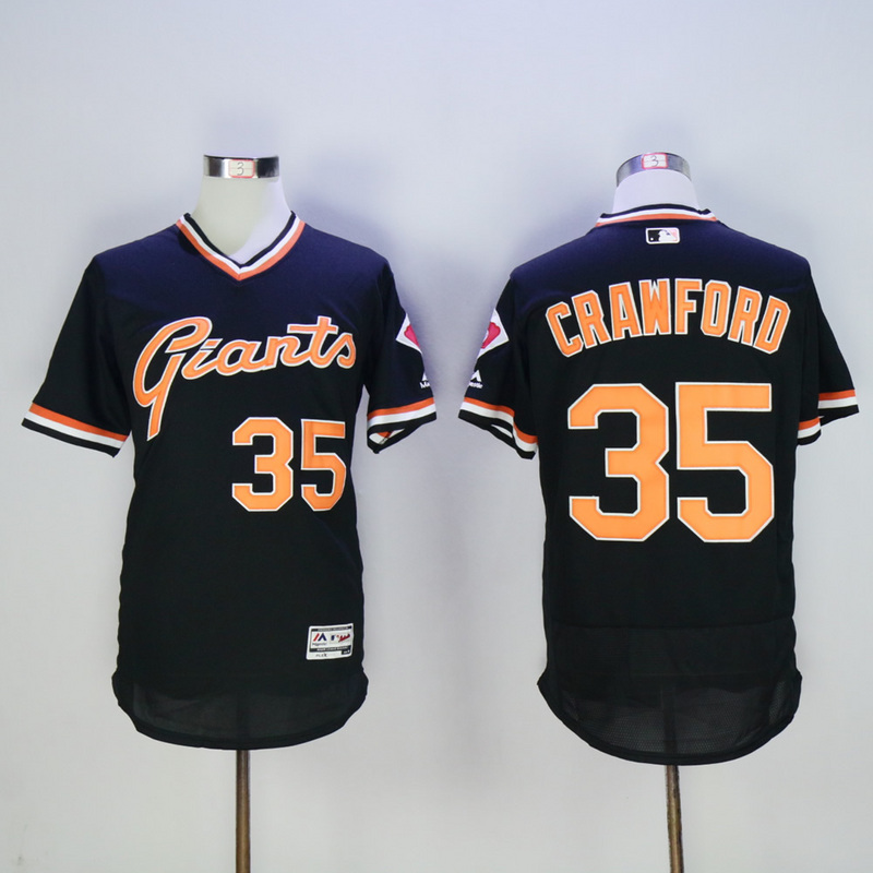 Men San Francisco Giants 35 Crawford Black Throwback Elite MLB Jerseys