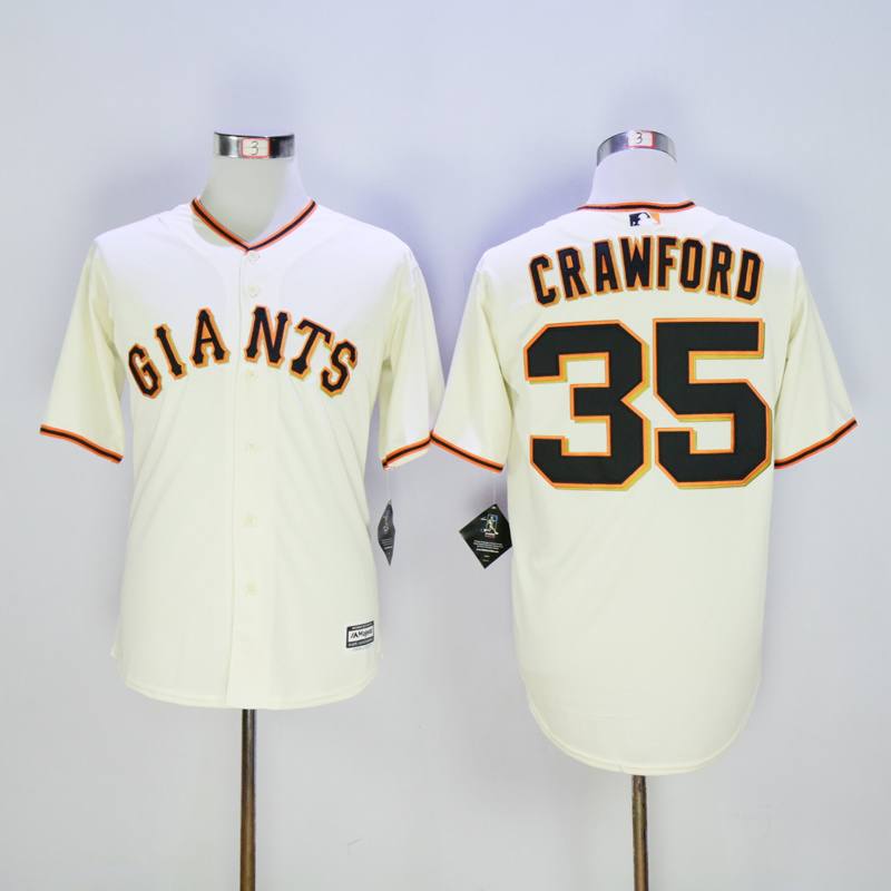 Men San Francisco Giants 35 Crawford Cream MLB Jerseys