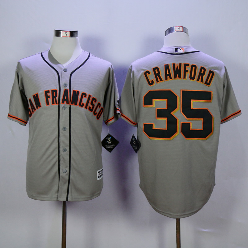 Men San Francisco Giants 35 Crawford Grey MLB Jerseys