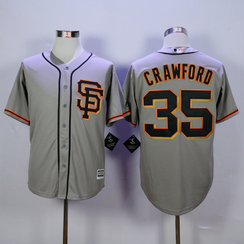 Men San Francisco Giants 35 Crawford Grey SF MLB Jerseys