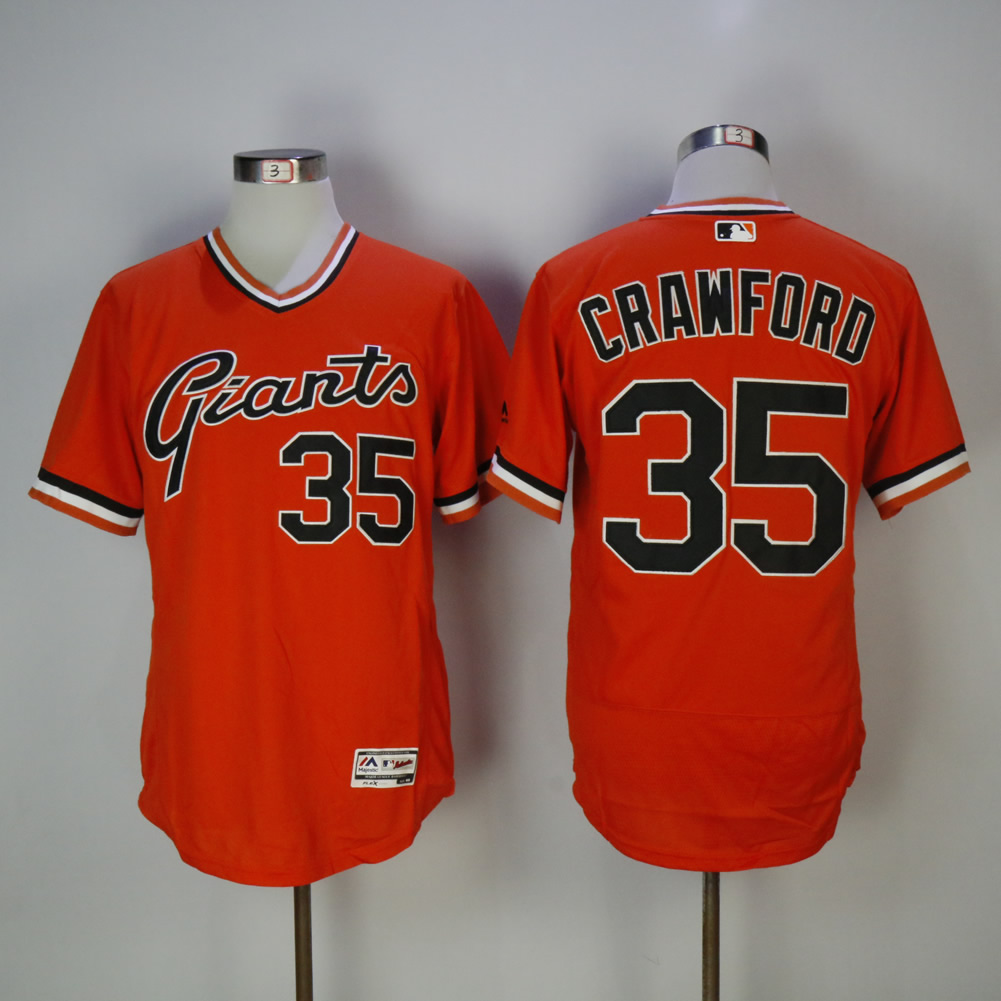 Men San Francisco Giants 35 Crawford Orange Elite MLB Jerseys
