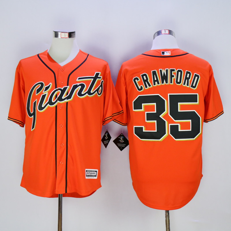 Men San Francisco Giants 35 Crawford Orange MLB Jerseys