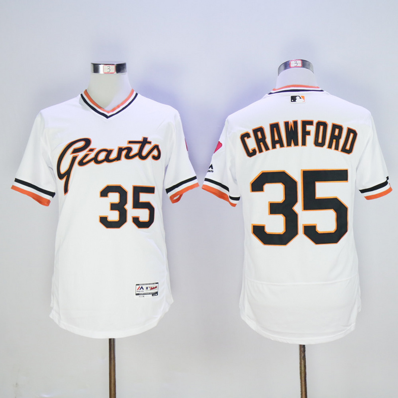 Men San Francisco Giants 35 Crawford White Throwback Elite MLB Jerseys