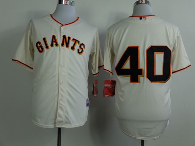 Men San Francisco Giants 40 No name Cream MLB Jerseys