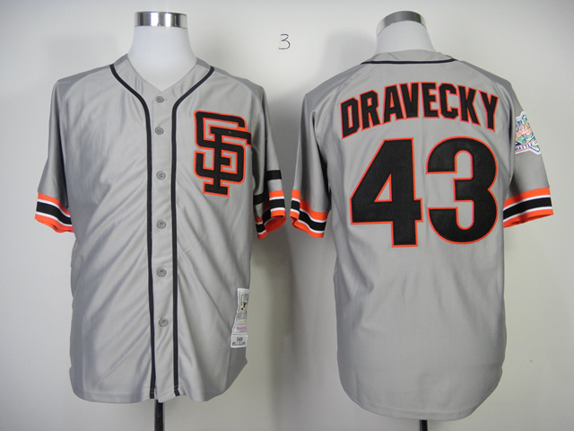 Men San Francisco Giants 43 Dravecky Grey Throwback MLB Jerseys