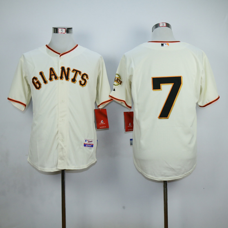 Men San Francisco Giants 7 Blanco Cream MLB Jerseys
