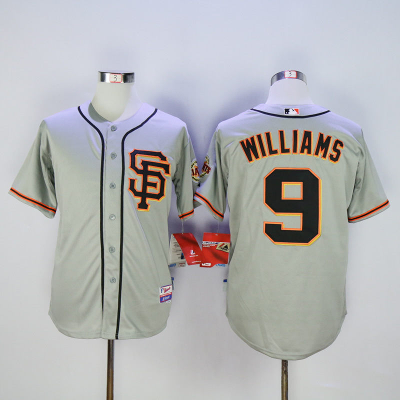 Men San Francisco Giants 9 Williams Grey Throwback MLB Jerseys