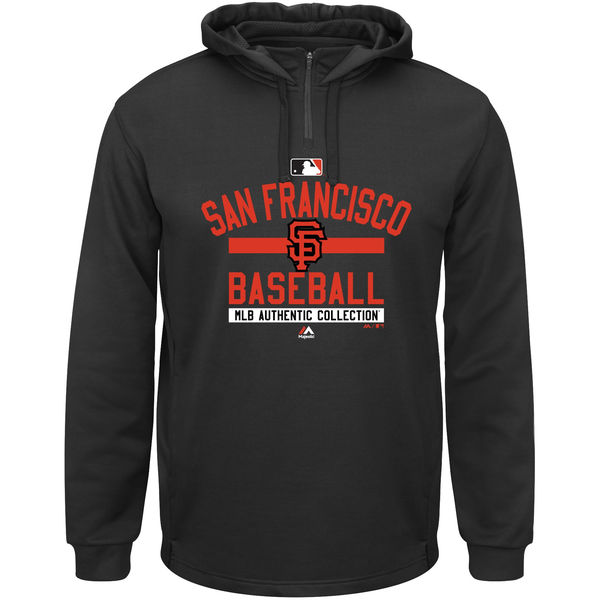 Men San Francisco Giants Majestic AC Team Property On-Field Solid Therma Base Hoodie Black