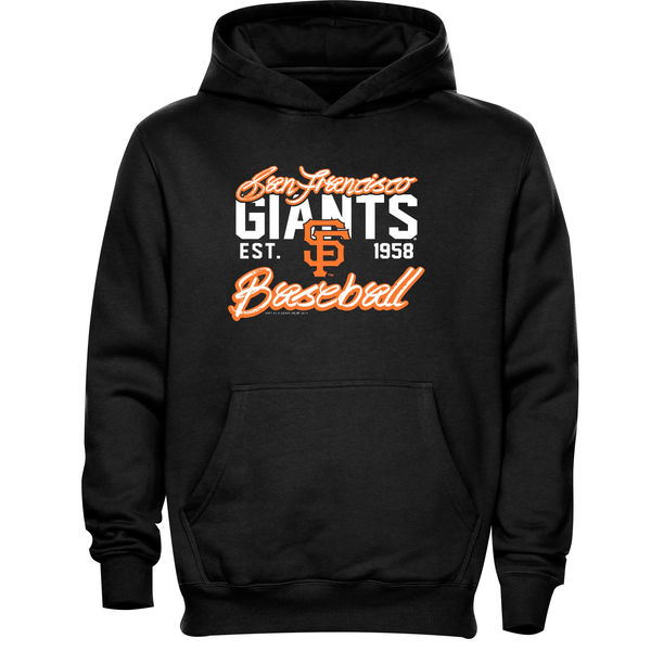 Men San Francisco Giants Script Baseball Pullover Hoodie Black