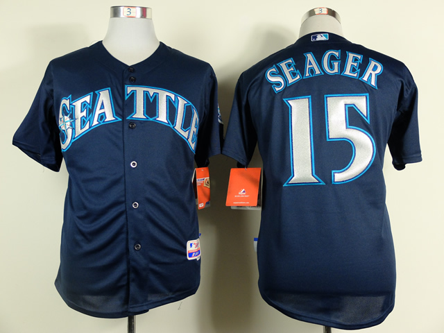Men Seattle Mariners 15 Seager Blue MLB Jerseys