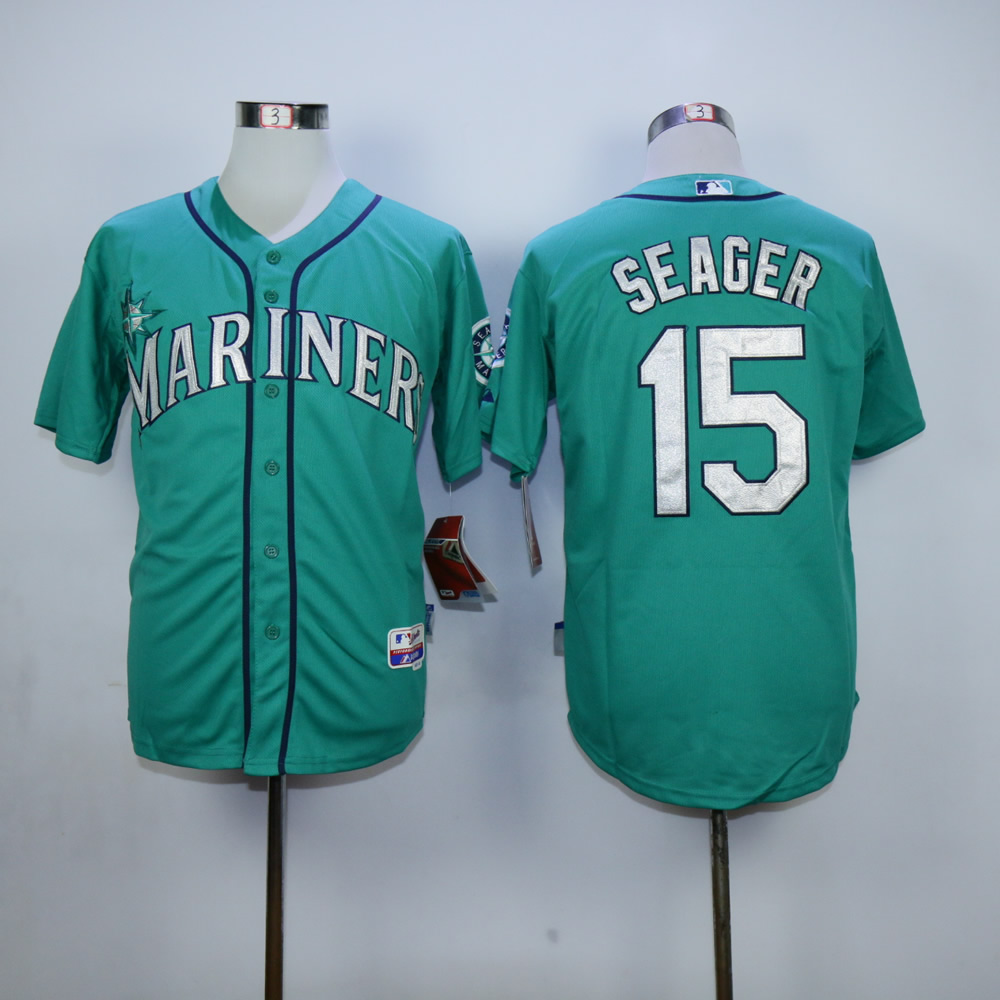 Men Seattle Mariners 15 Seager Green MLB Jerseys