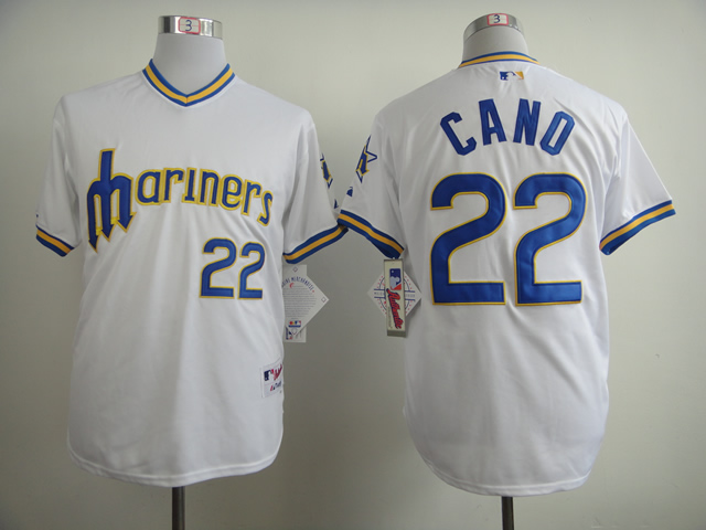 Men Seattle Mariners 22 Cano White Throwback 1979 MLB Jerseys