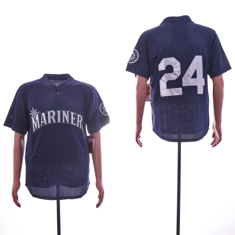 Men Seattle Mariners 24 Griffey Blue Throwback MLB Jerseys